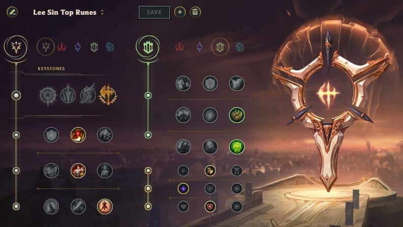 Lee Sin top mid rune page LoL Stagione 11